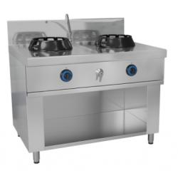 Wok au gaz avec 1 table de cuisson 14kW