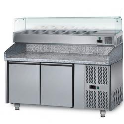 Table de Pizza réfrigérée  1,5 x 0,8 m - 2 portes